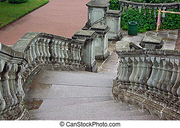 Stairs in park of Petergof - Ancient Stairs in Park of...