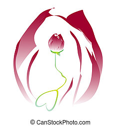 Romantic flower rose ornament with colorful background for...