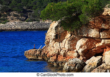 Beautiful small bay in Ibiza, Baleares Island, Spain.
