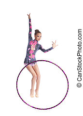 Young gymnast girl dance with hoop isolated - Young...