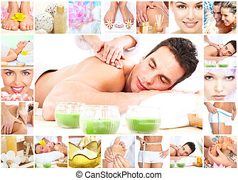 Spa massage collage background - Handsome young man getting...