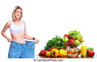 Young woman with fruits and vegetables Diet and fitness...