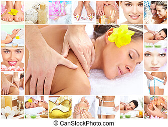 Spa massage collage background. - Beautiful young woman...
