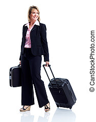 Smiling business woman with suitcase Isolated over white...