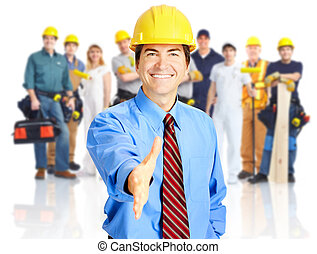 Industrial workers group. - Group of industrial workers with...