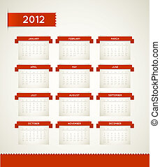 Vector Red Vintage retro calendar for the new year 2012 -...