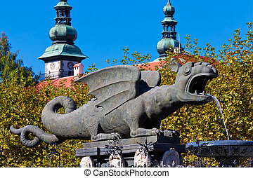 Klagenfurt, Austria - Lindworm Fountain - symbol of the city...