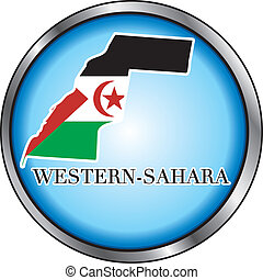 Western Sahara Round Button - Vector Illustration for the...
