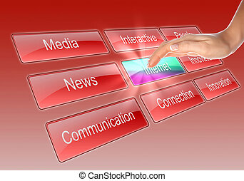Digital display with business words - Digital display with...