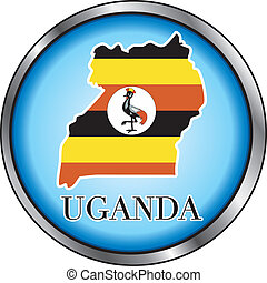 Uganda Round Button - Vector Illustration for the country of...
