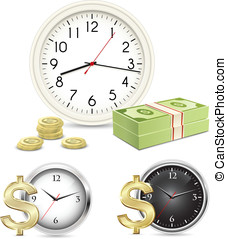 Time is money Office Clock and Money Vector illustration
