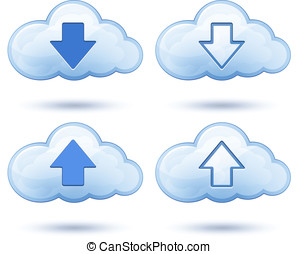 Glossy cloud with arrow - Download and upload icons. Vector...