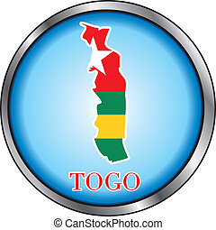 Togo Round Button - Vector Illustration for the country of...