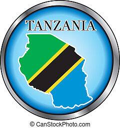 Tanzania Round Button - Vector Illustration for the country...