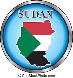Sudan Round Button - Vector Illustration for the country of...