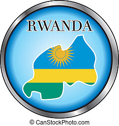 Rwanda Round Button - Vector Illustration for the country of...