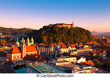 Ljubljana, Slovenia - Panorama of the Slovenian capital...