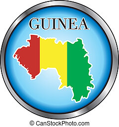 Guinea Round Button - Vector Illustration for the country of...