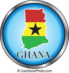 Ghana Round Button - Vector Illustration for the country of...