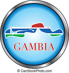 Gambia Round Button - Vector Illustration for the country of...