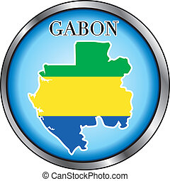Gabon Round Button - Vector Illustration for the country of...