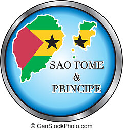 Sao Tome and Principe Round Button - Vector Illustration for...