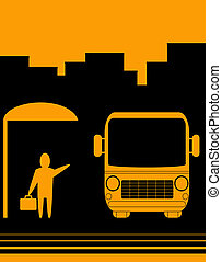sign with image bus stop - urban sketch sign with image bus...
