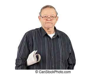 Senior man with rolled up newspaper