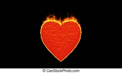 valentine's day energy heart,fire heart burning.