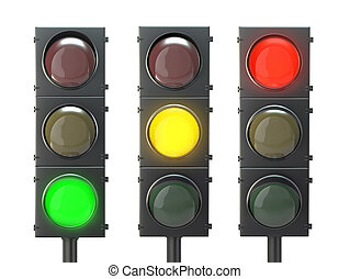 Set of traffic lights with red, yellow and green lights