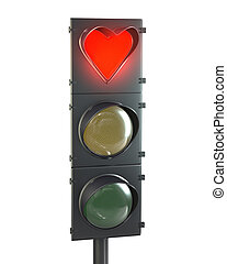 Traffic light with heart shaped red lamp isolated on white...