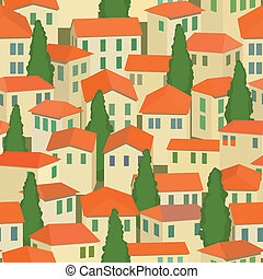 seamless old town with red roof and tree