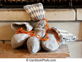 Socks, feast of St. Nicholas - Sock full of candy under the...