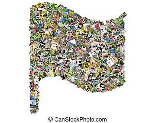 collage, fotos, bandera