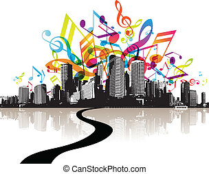 City with colored tunes
