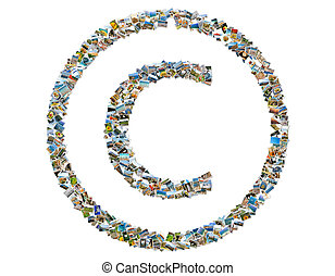 Copyright symbol - Copyright symbol, photos collage isolated...