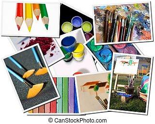 藝術, 明信片, 工具