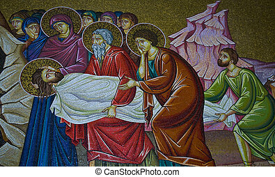 Holy sepulcher - Mosaic image in the church of the Holy...