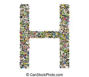 Letter h, photos collage isolated on a white background