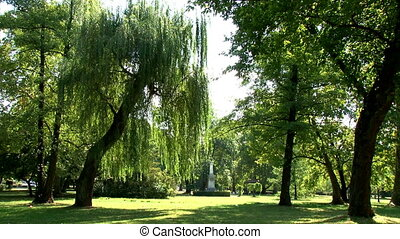 Park Topcider, Belgrade, Obelisk and trees