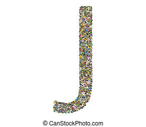 Letter j, photos collage isolated on a white background