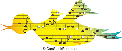 Bird, music symbols - Flying colored songbird, music...