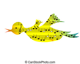 Music, bird - Flying colored songbird, music theme
