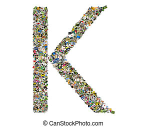 Letter k , photos collage isolated on a white background