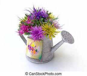 Watering-can With Asters of Different Colors in 3D