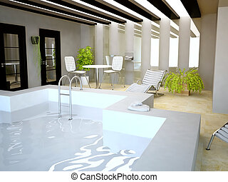 Swimming Pool Inside House in 3D