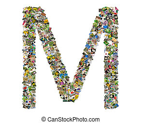 Letter m, photos collage isolated on a white background
