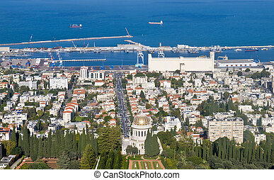 Haifa - view to the Haifa bay in Israel