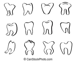abstract tooth icon on white background