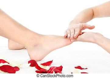 foot massage isolated on white background